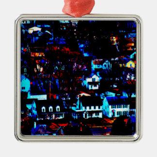 Urban Town Silver-Colored Square Decoration
