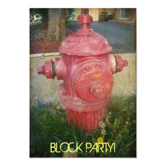 "Urban Treated Fire Hydrant Block Party Invitations 5"" X 7"" Invitation Card"