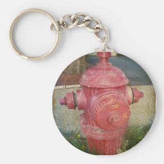 Urban Treated Fire Hydrant Keychain. Basic Round Button Key Ring