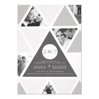 Urban Triangle Overlay | Modern Engagement Party 13 Cm X 18 Cm Invitation Card