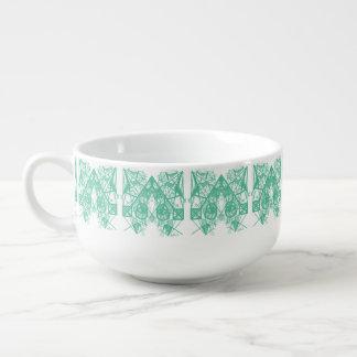 UrbnCape Geometric Green and White Soup Bowl