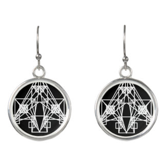 UrbnCape Geometric White Space ship earrings