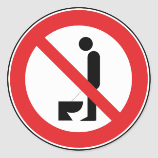 Urinating while standing is prohibited round sticker