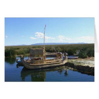 uros island boat greeting card