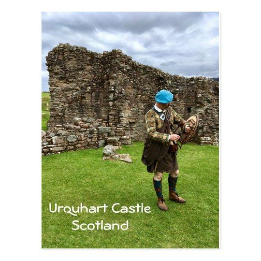 Urquhart Castle in Scotland, Jacobite Man in Kilt Postcard