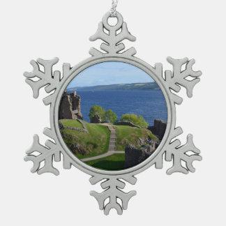 Urquhart Castle Ruins Snowflake Pewter Christmas Ornament