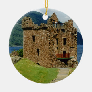 Urquhart Castle - Scottish castles collection Round Ceramic Decoration