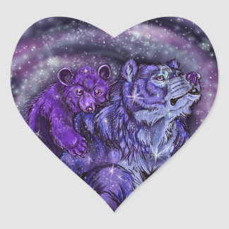 Ursa Minor and Major Heart Sticker