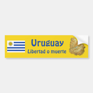 Uruguay Flag and Map Bumper Sticker