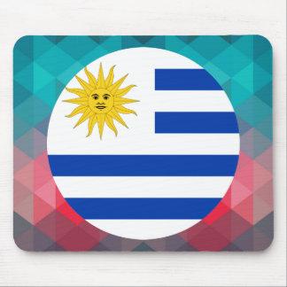 Uruguay flag circle on modern bokeh mouse pad