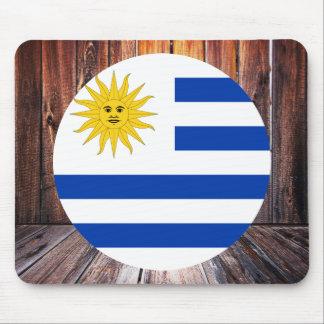 Uruguay flag circle on wood background mouse pad
