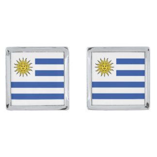 Uruguay Flag Cufflinks Silver Finish Cuff Links