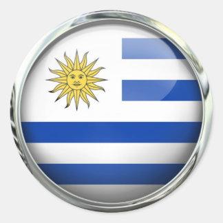 Uruguay Flag Glass Ball Classic Round Sticker