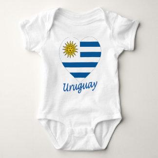 Uruguay Flag Heart Baby Bodysuit
