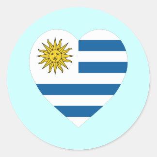 Uruguay Flag Heart Classic Round Sticker