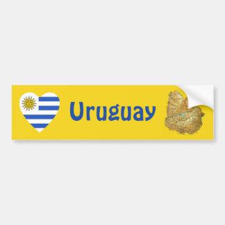 Uruguay Flag Heart + Map Bumper Sticker