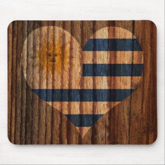 Uruguay Flag Heart on Wood theme Mouse Pad