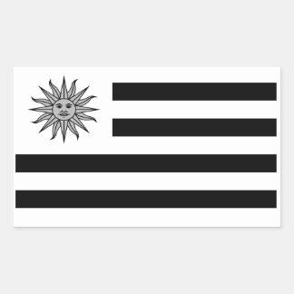 Uruguay Flag In Black And White Rectangular Sticker