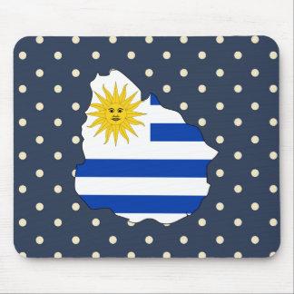 uruguay Flag Map on Polka Dots Mouse Pad