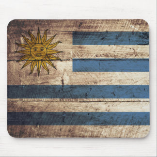 Uruguay Flag on Old Wood Grain Mouse Pad