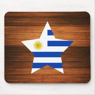 Uruguay Flag Star on Wood Mouse Pad