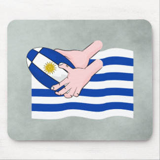 Uruguay Flag With Cartoon Rugby Ball Mouse Pad