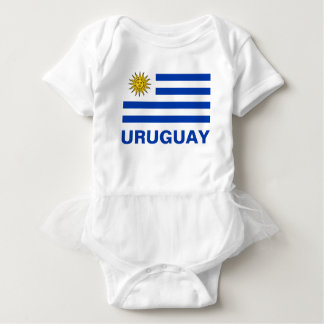 Uruguay Flag With Customizable Blue Text Baby Bodysuit