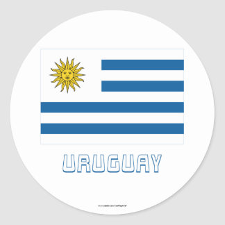 Uruguay Flag with Name Classic Round Sticker