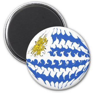 Uruguay Gnarly Flag 6 Cm Round Magnet