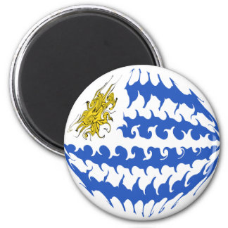 Uruguay Gnarly Flag Fridge Magnets