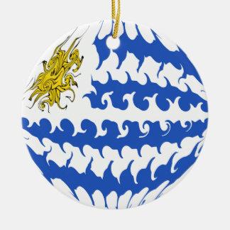 Uruguay Gnarly Flag Round Ceramic Decoration