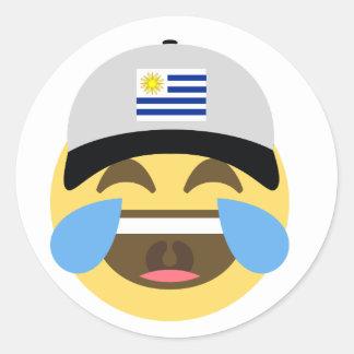 Uruguay Hat Laughing Emoji Classic Round Sticker