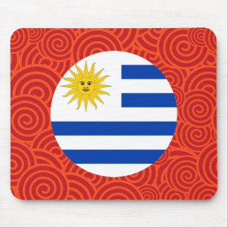 Uruguay round flag mouse pad