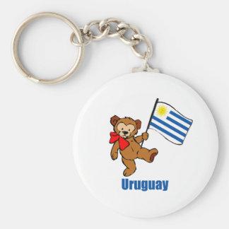 Uruguay Teddy Bear Basic Round Button Key Ring