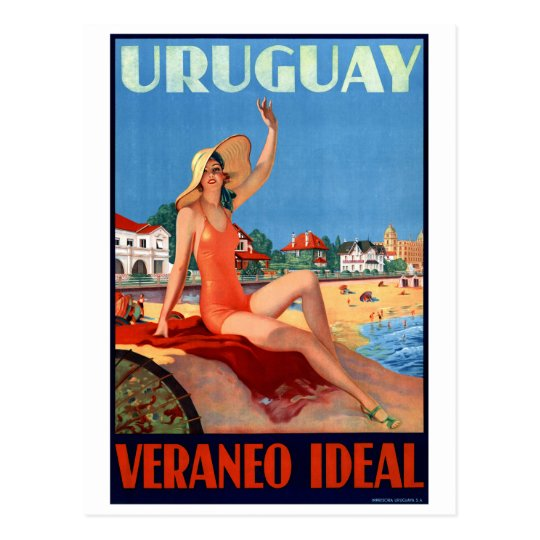 Uruguay Veraneo Ideal Vintage Travel Poster Postcard