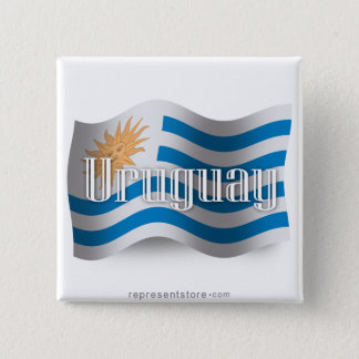 Uruguay Waving Flag 15 Cm Square Badge