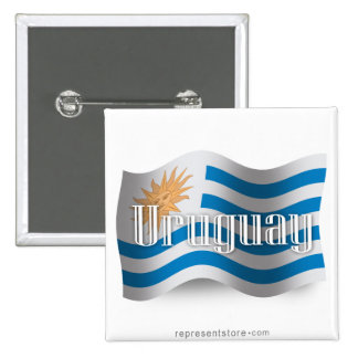 Uruguay Waving Flag 15 Cm Square Badge
