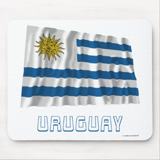 Uruguay Waving Flag with Name Mouse Pads