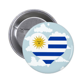 Uruguayan Flag on a cloudy background 2 Inch Round Button
