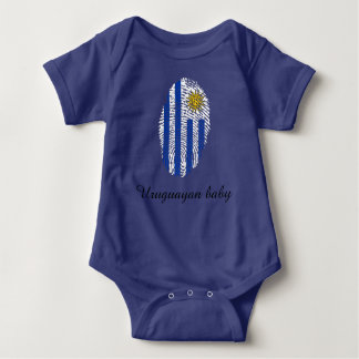 Uruguayan touch fingerprint flag baby bodysuit