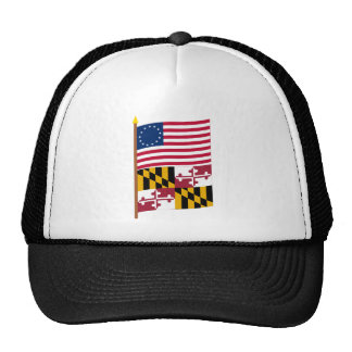 US 13-star flag on pole with Maryland Trucker Hat