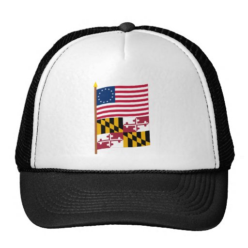 US 13-star flag on pole with Maryland Trucker Hats