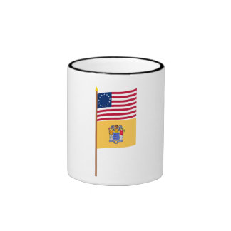 US 13-star flag on pole with New Jersey Ringer Coffee Mug