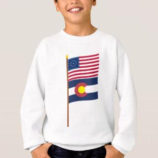US 38-star flag on pole with Colorado Sweatshirt