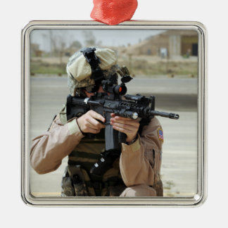 US Air Force Airman conducts security Christmas Ornament