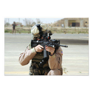 US Air Force Airman conducts security Photo Print