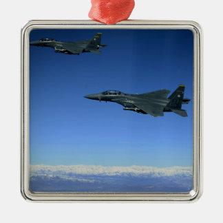 US Air Force F-15E Strike Eagles 2 Silver-Colored Square Decoration