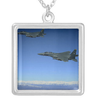 US Air Force F-15E Strike Eagles 2 Silver Plated Necklace