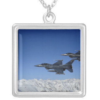 US Air Force F-16 Fighting Falcons Silver Plated Necklace