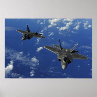 US Air Force F-22 Raptors in flight near Guam Poster